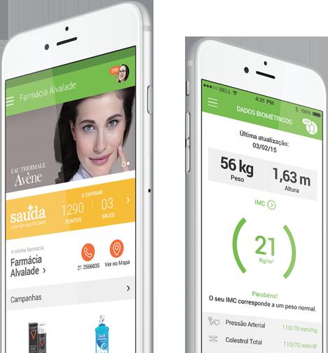 image de telemóveis com a aplicação Farmácias Portuguesas em funcionamento
